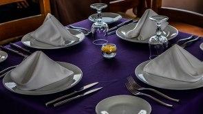 set table in the restaurant El Mirador Del Crater in Ecuador