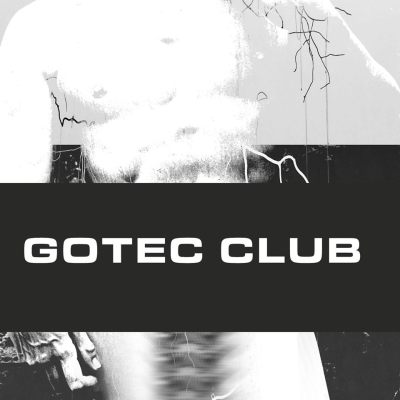 "painting of a naked man and in the forefront a sign which says ""GOTEC CLUB"""