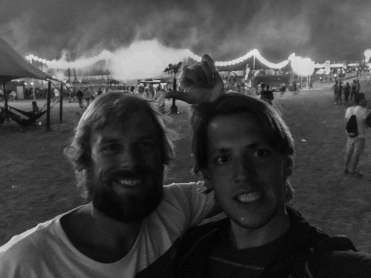 two brothers at a techno music festival