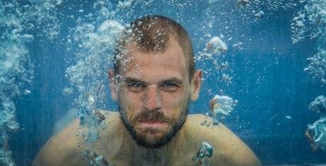 A man under water