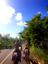 man and woman horse riding