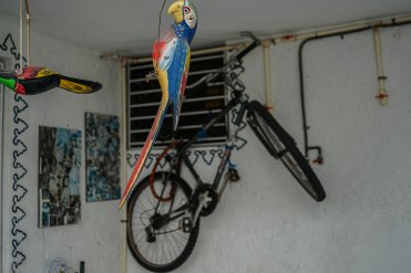bicycle hanging on the wall