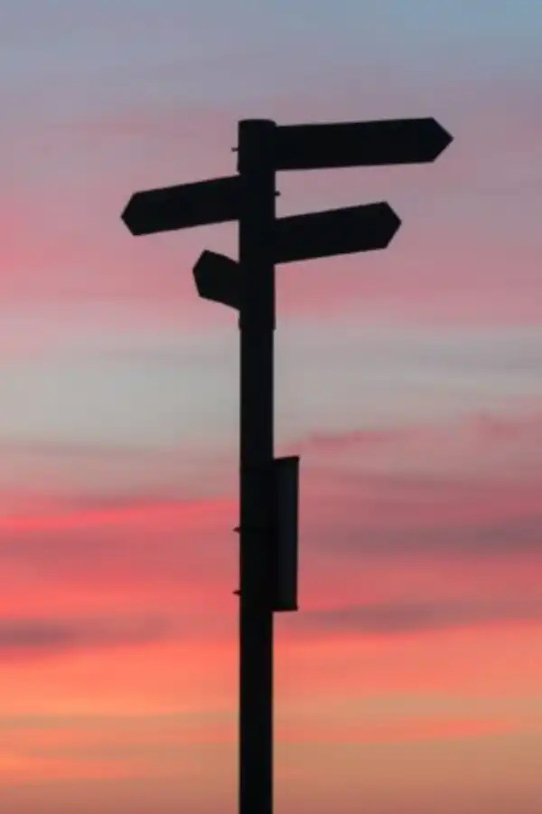 Vertical road sign indicating several directions a traveler could take with a sunset in the background.