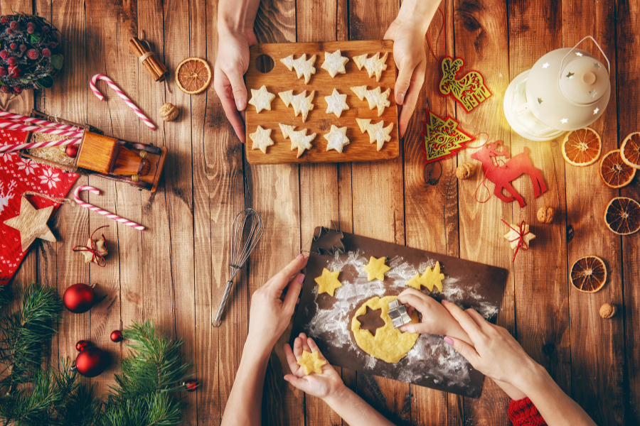 Christmas decorations and cookie making