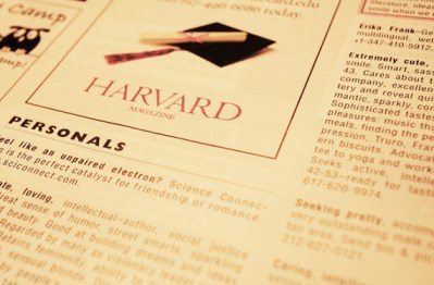 Mash-up personal ads: Harvard Magazine and Craigslist