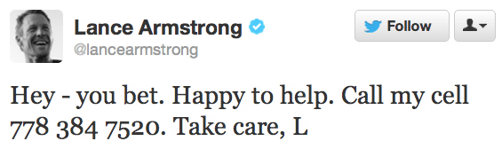 Texts Received by Lance Armstrong After Accidentally Tweeting His Phone Number
