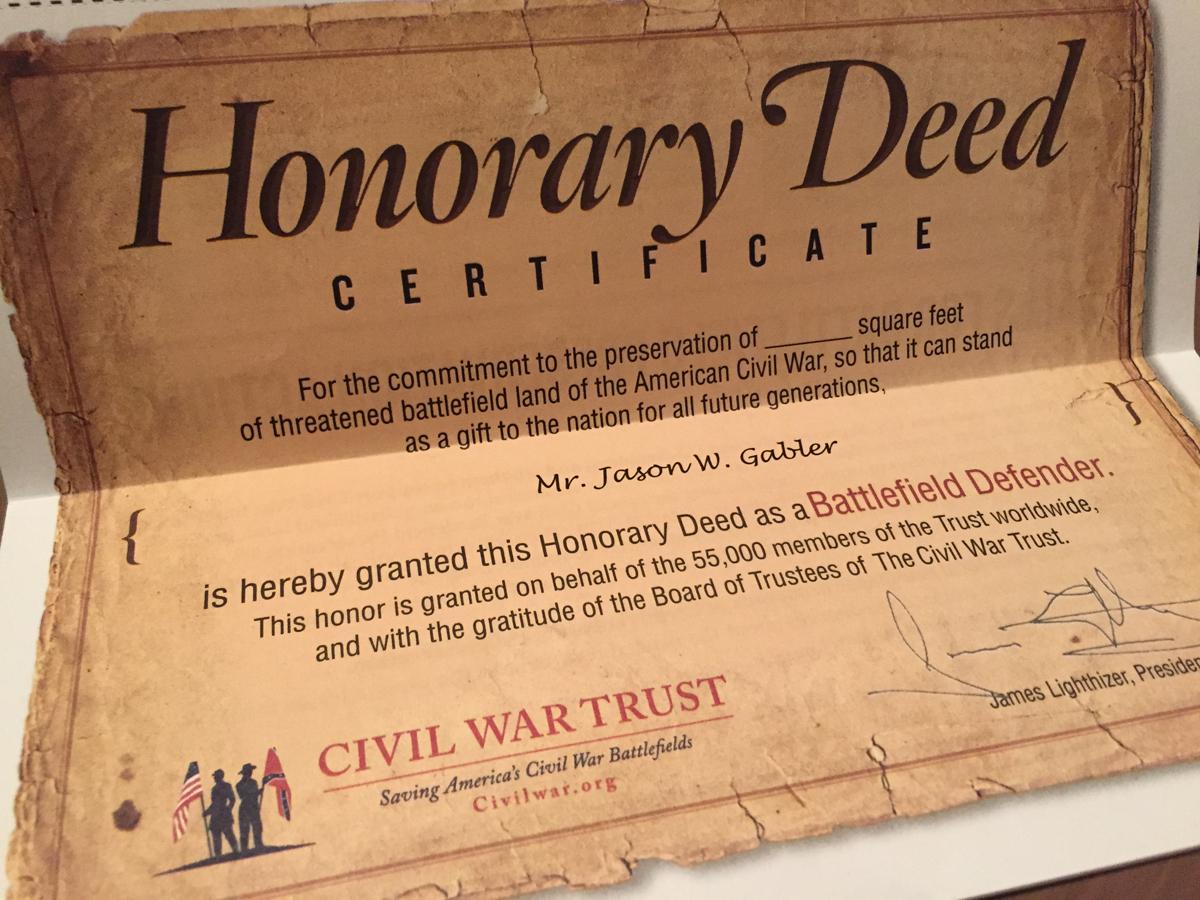 Civil War battlefield presevation certificate