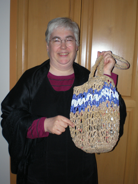 The very cute Sister Monika Ellis, OSB, and her fab bag