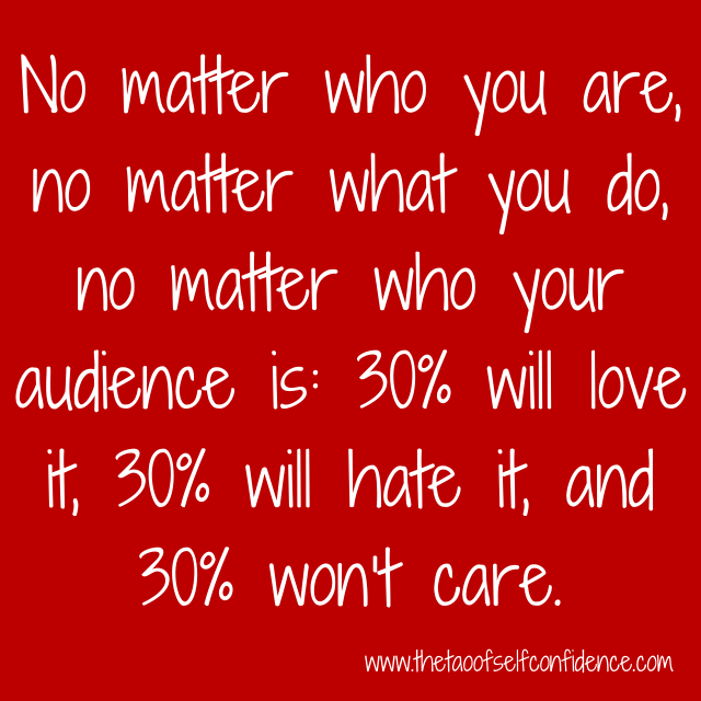 No matter who you are, no matter what you do, no matter who your audience is: 30% will love it, 30% will hate it, and 30% won't care.