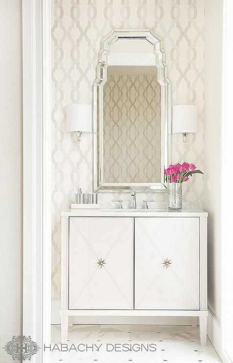 Wan to give a custom look to your powder bath? Add wallpaper to the entire room or as an accent wall for a fresh update.