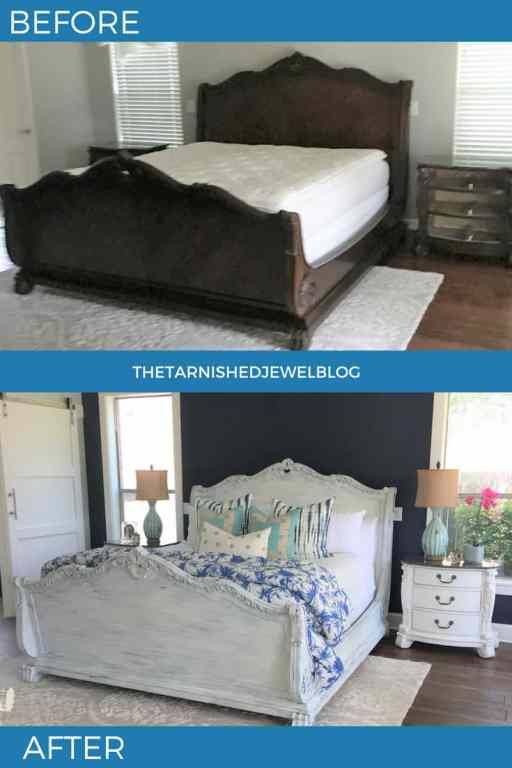 before and after master bed frame makeover. brown bed painted white using dry-brushed method