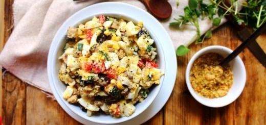 Tahini Dukkah Egg Salad Recipe by Peachy Palate