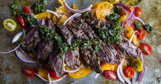 Grilled Skirt Steak with Chimichurri Recipe from Pure Delicious Cookbook