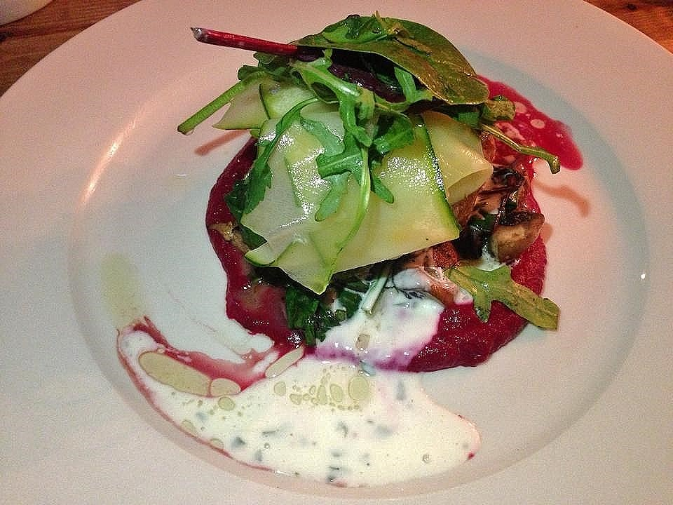 Wild Garlic Boxty with Courgette and Beetroot