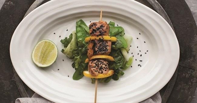 Sesame Salmon Skewers Recipe by Catherine Fulvio