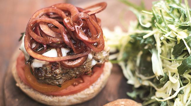 Italian Super-food Burgers, Balsamic Onions, Mozzerella & Slaw Jamie Oliver Enterprises Limited (2016 Super Food Family Classics) Photographer: Jamie Oliver