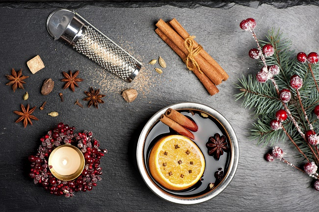 Christmas mulled wine and spices