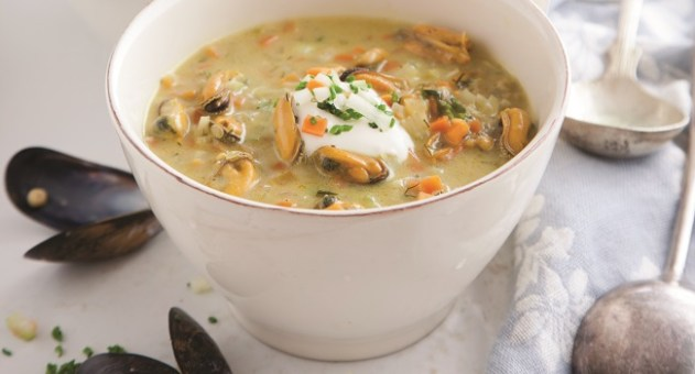 Curried Mussel Soup Recipe by Catherine Fulvio