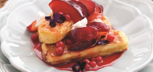 French Toast with Rose Petal Syrup, Plums and Goat's Cheese Recipe by Catherine Fulvio