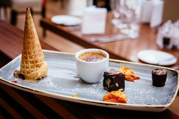 Chocolate Tasting Plate – Chocolate & Orange Brownie, Chocolate Marquis, White Chocolate Crème Brulee, Honeycomb. Ice House Hotel