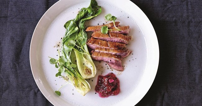 Duck Recipe with Spiced Plum Jam and watercress