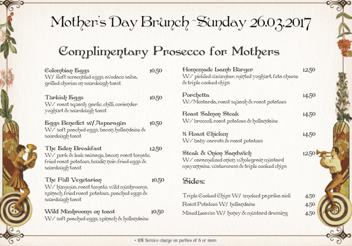 Eden Bar & Grill Brunch and Dinner Menus for Mothers' Day