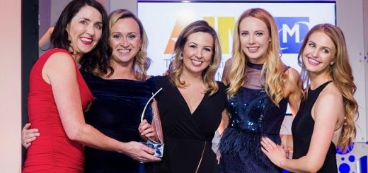 Alex Murphy, Freya Ivory,Niamh O'Shaugnessy and Jessica Powell from BFree Foods Being Presented with Best International Marketing Award at the All Ireland Marketing Awards 11th May. BFree Foods