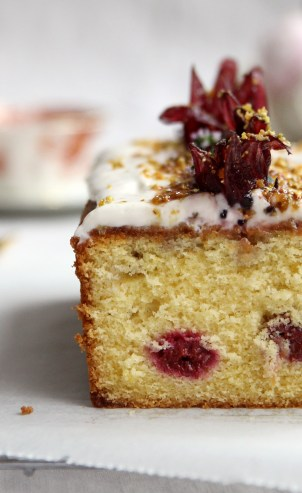 Lemon Raspberry Hibiscus Loaf Cake Recipe from Cove Cake Design