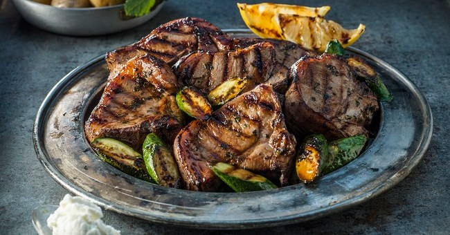 Griddled Connemara Hill Lamb Chops Recipe with Courgette and Lemon