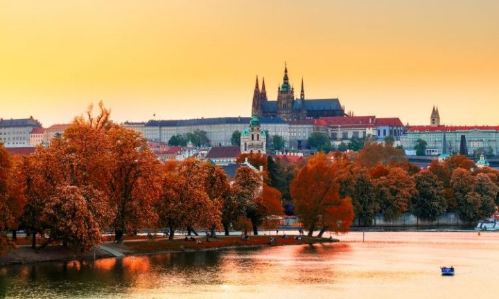 View of Prague Castle with St. Vitus Cathedral from Petrin Tower, Czech Republic