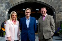 Sharon Fitzpatrick, Lord Henry and Barry Storey - MD of Fitzers Catering, at Slane Castle Co Meath. For the opening of the new Gandon Room Restaurant & Brownes Bar at Slane Castle . Photo: AllenKielyPhotography.com