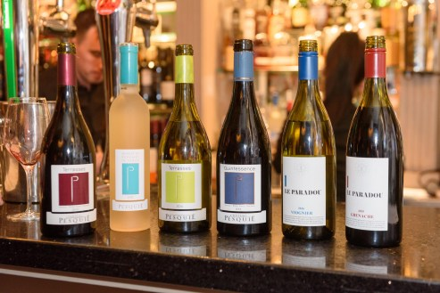 REPRO FREE Pictured are some of the wines at the Rhône Valley Wine Week Dinner in Greenes Restaurant, Cork, in association with Château Pesquié and Tindal Wine Merchants. Picture. John Allen