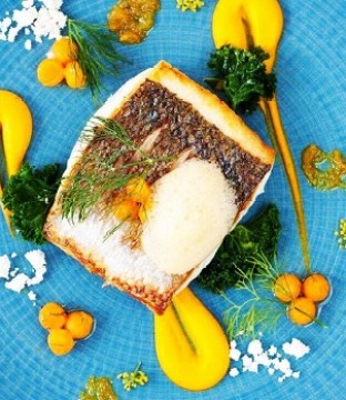 Flat Fish Recipe with Carrot Purée, Orange Reduction, and Ginger Froth by Chef Paul Hynes from La Cote