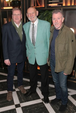 Joe Harrington ,Paddy Cole and Paul Harrington at the official opening of the Iveagh Garden Hotel in Harcourt Street,Dublin. Pic Brian McEvoy No Repro fee