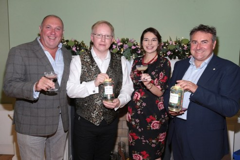 Jacques Henry Bezy,David Havelin , Marie Byrne and Marc Amand pictured at the launch of Chinnery Dublin Dry Gin at the Irish Architectural Archive on Merrion Square,Dublin. Pic Brian McEvoy No Repro fee