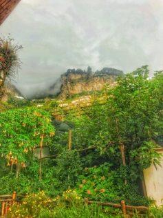 cloudy walk along cliffs