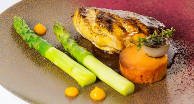 Corn-fed Chicken Green Asparagus, Roast Sweet Potato, Honey & Thyme Jus By Chef Igor From The Gibson