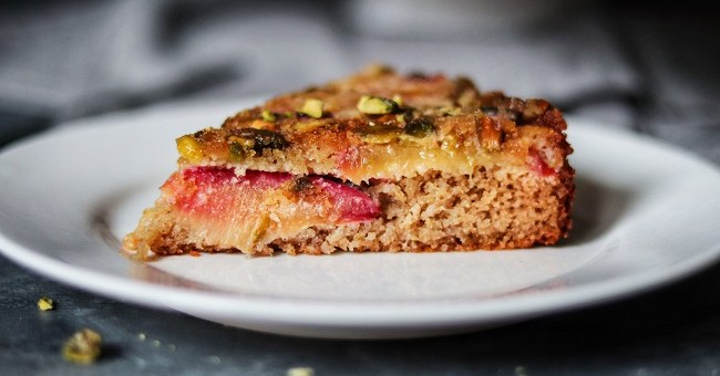 Plum and Pistachios Cake Recipe By Soulful and Healthy