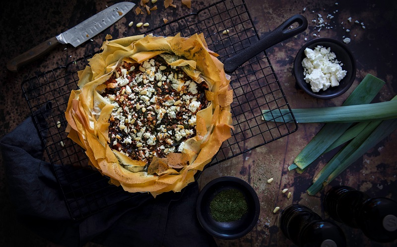 Rainbow Chard & Leek Filo Tart Recipe By Monika Coghlan