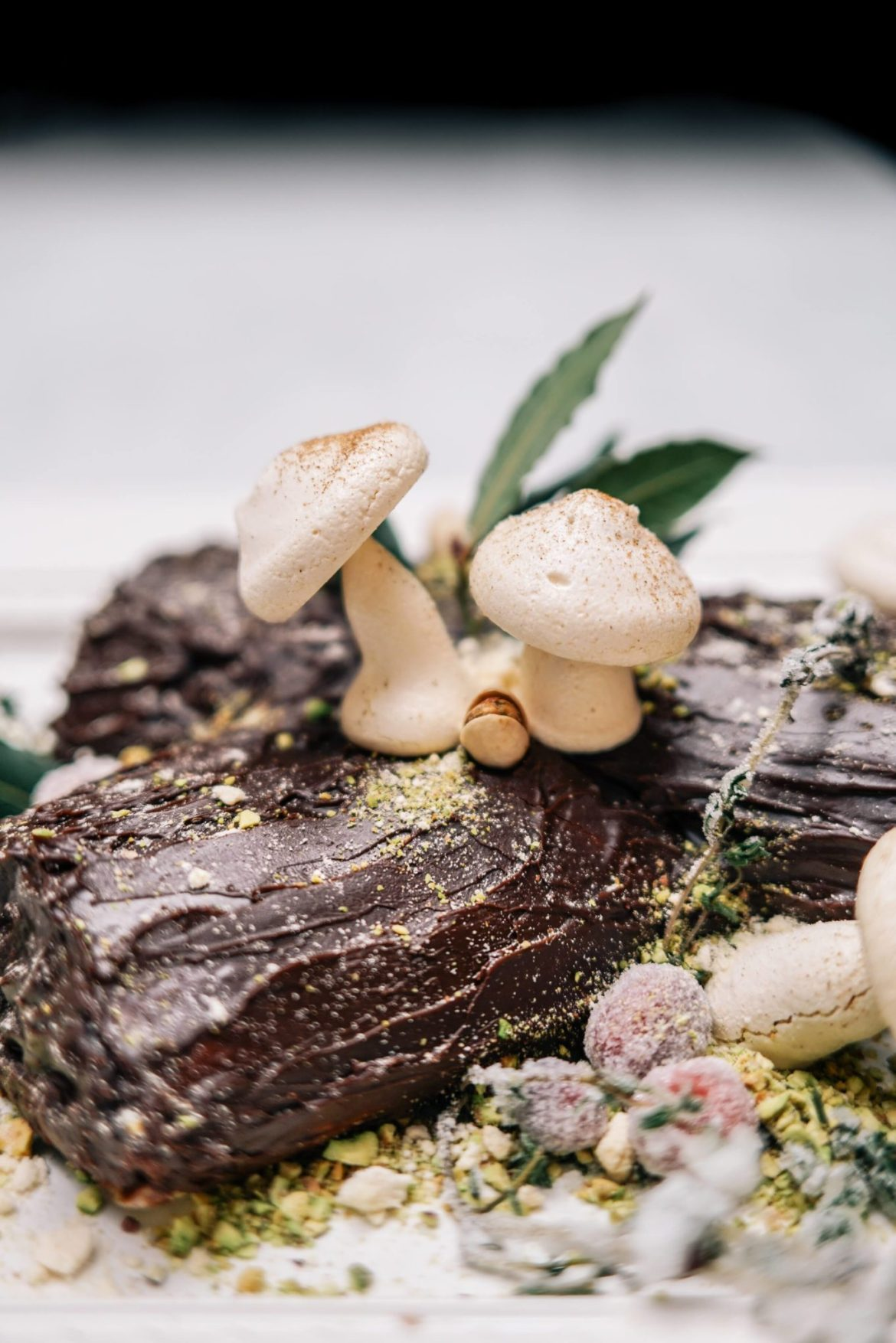 The Taste Edit makes a Bouche de Noel Christmas Yule Log - Learn how to make meringue mushrooms simply in the oven and a kitchen aid mixer