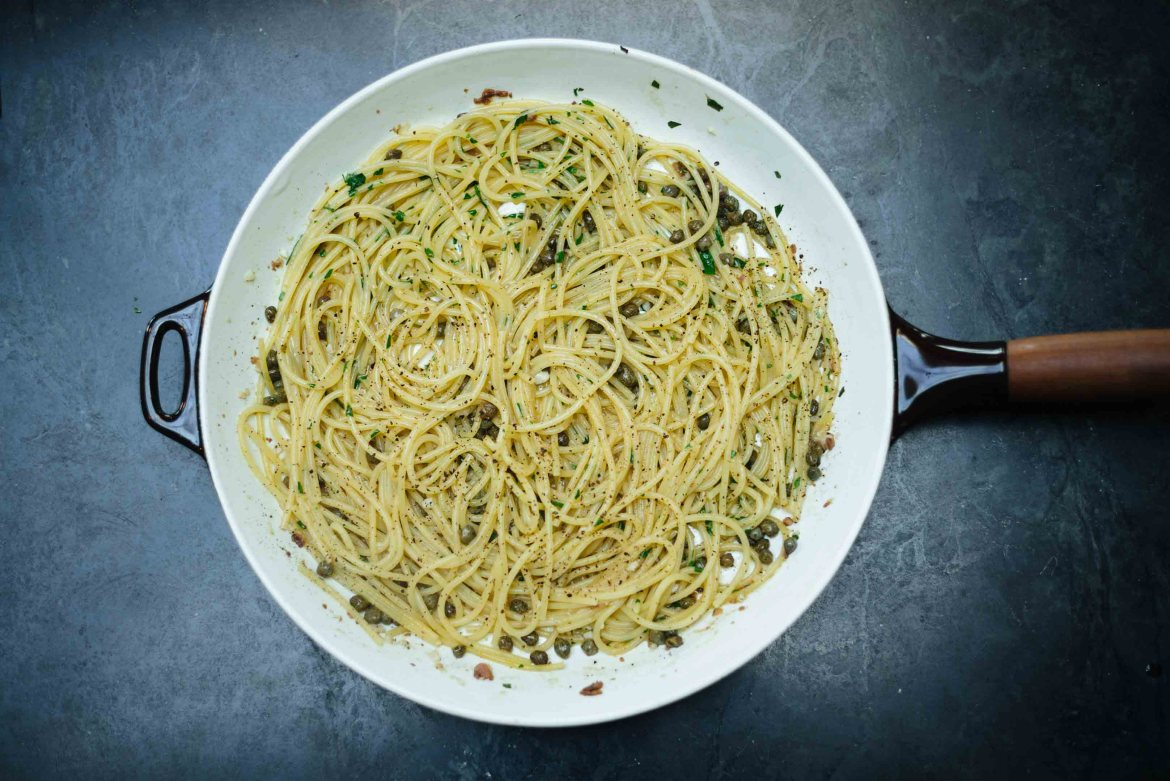 Try this spaghetti anchovy caper recipe for an easy dinner