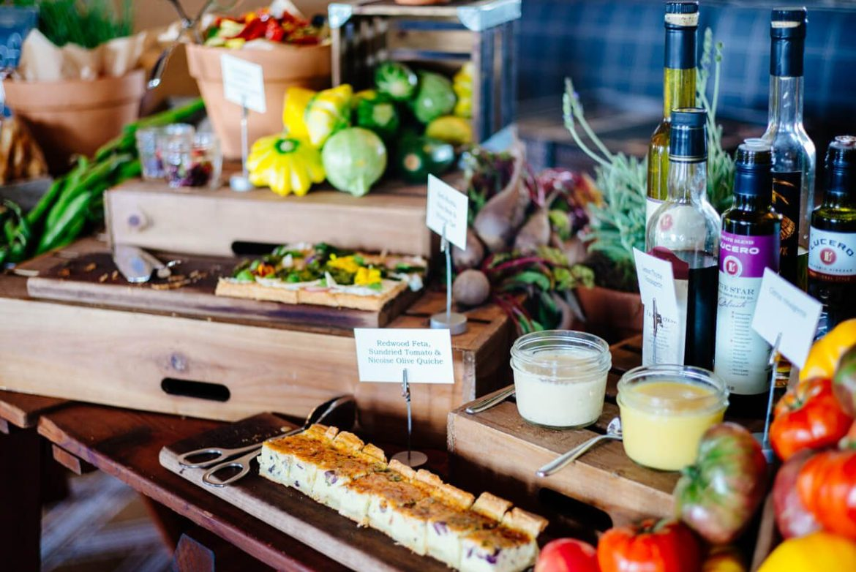 Table of delicious bites at Saturday Farmers Market Brunch at Navio The Ritz-Carlton Half Moon Bay