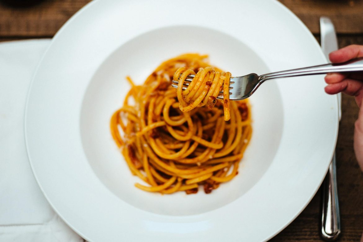 The Taste Edit's pasta all'amatriciana made with pancetta, bacon, or guanciale