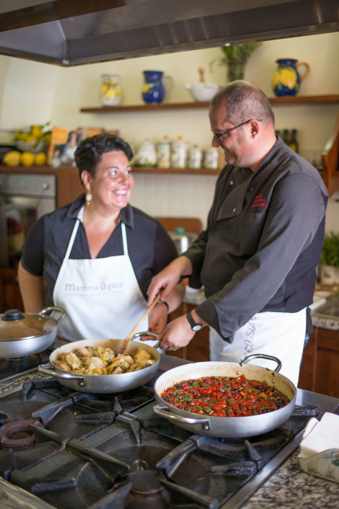 Gennaro and Chiara teach students how to cook and italian cooking secrets, Mamma Agata's Cooking School, Ravello, The Taste Edit