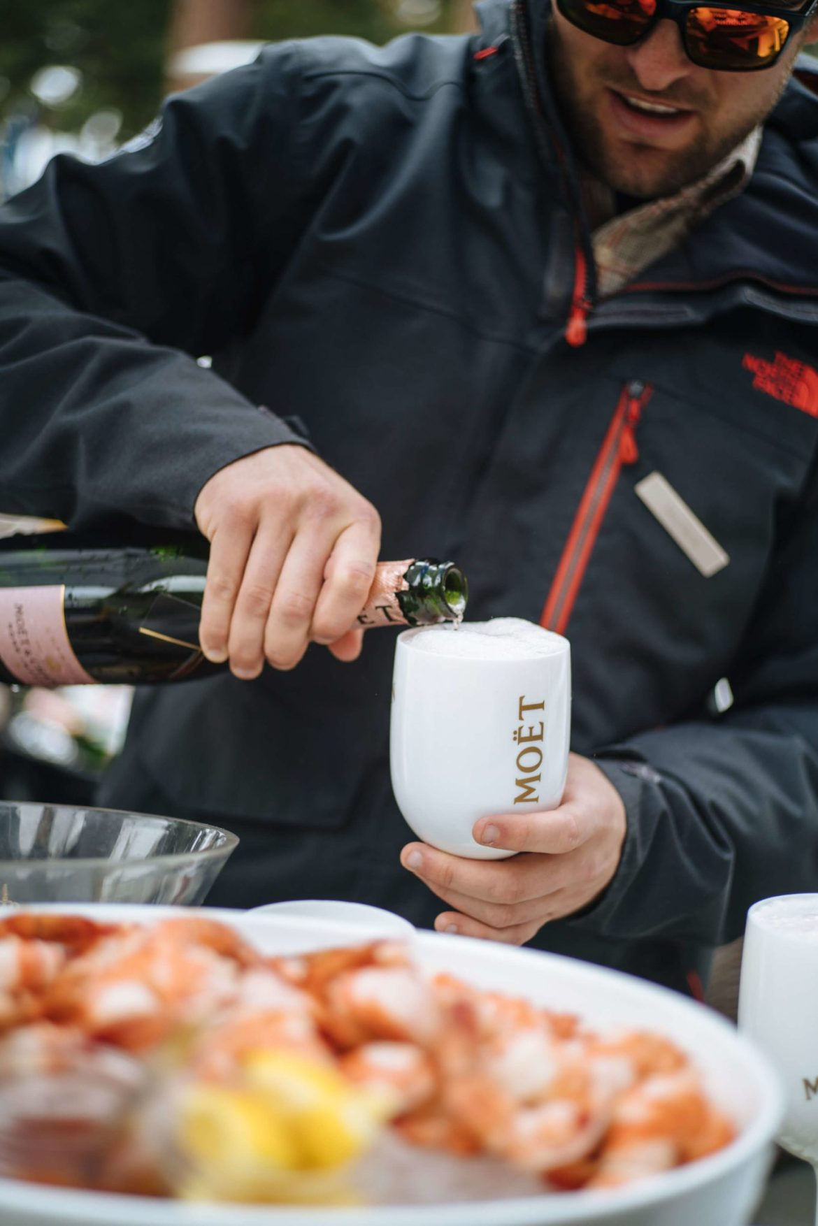 The Ritz-Carlton Lake Tahoe with shrimp and pouring Moet Chandon by the fire, The Taste Edit