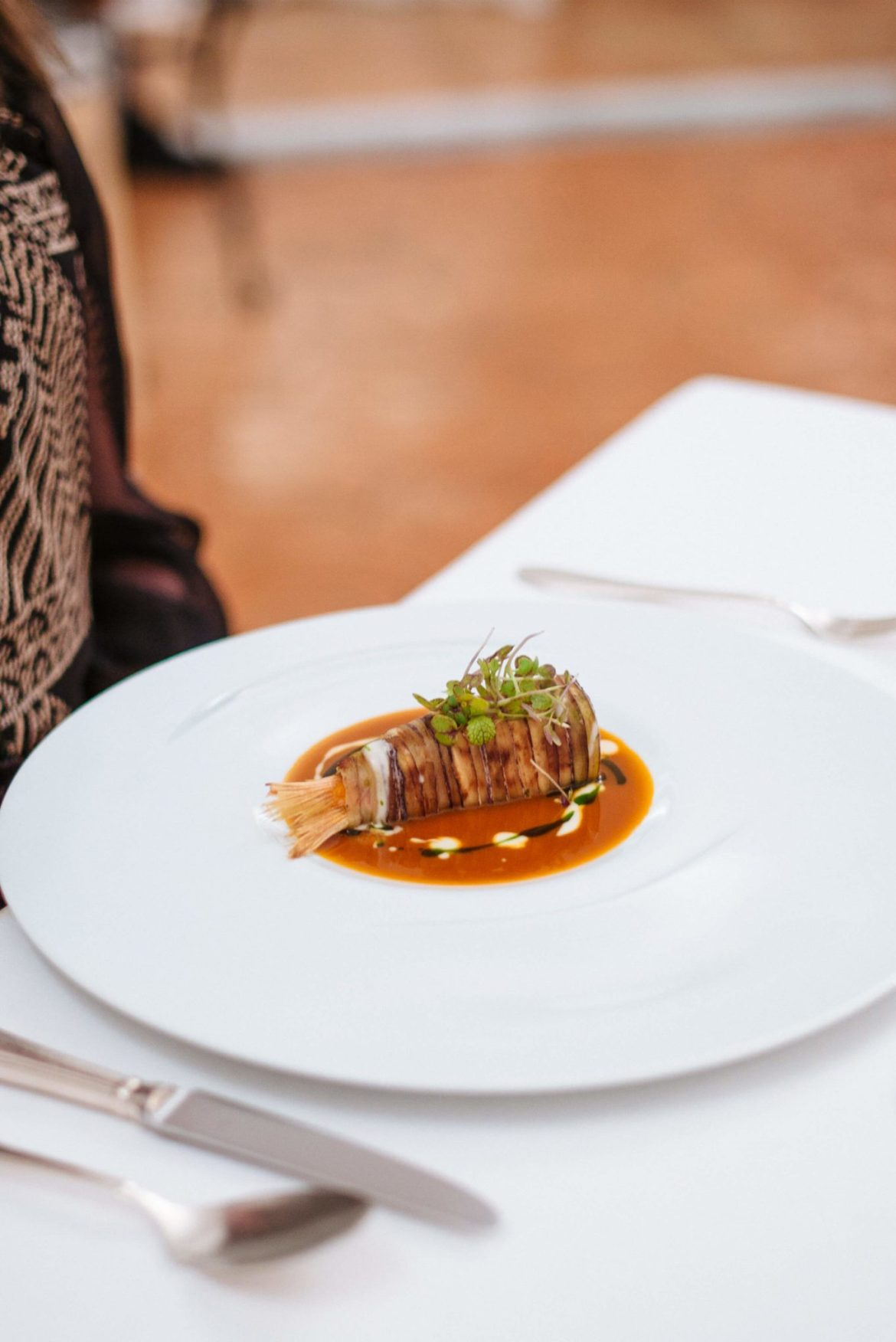 Red Mullet Fish topped with eggplant Rossellini's Restaurant in Palazzo Avino, Ravello Italy, The Taste Edit