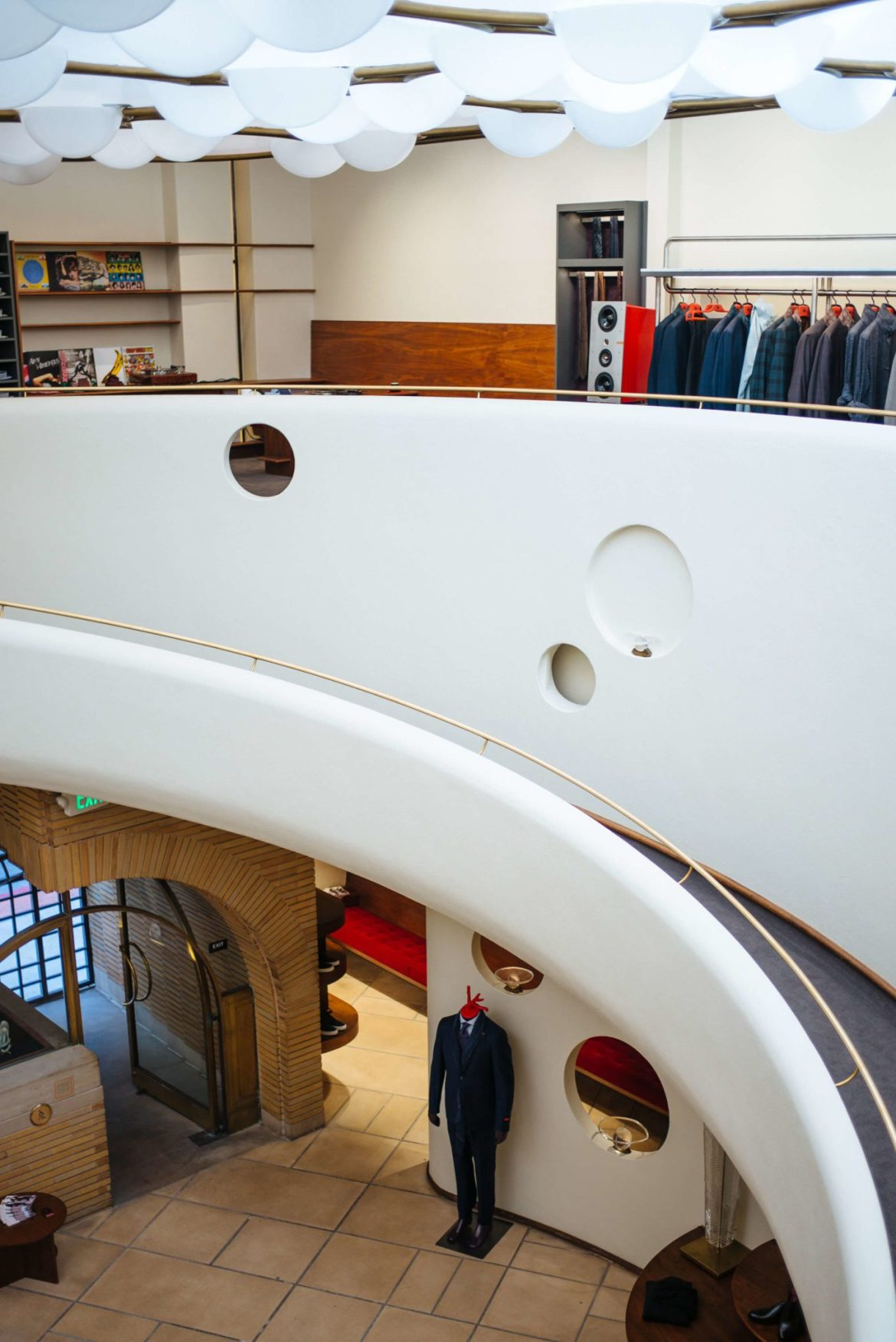 Historic staircase Isaia San Francisco Store, Neapolitan Isaia suits in the historic VC Morris Frank Lloyd Wright San Francisco, The Taste Edit