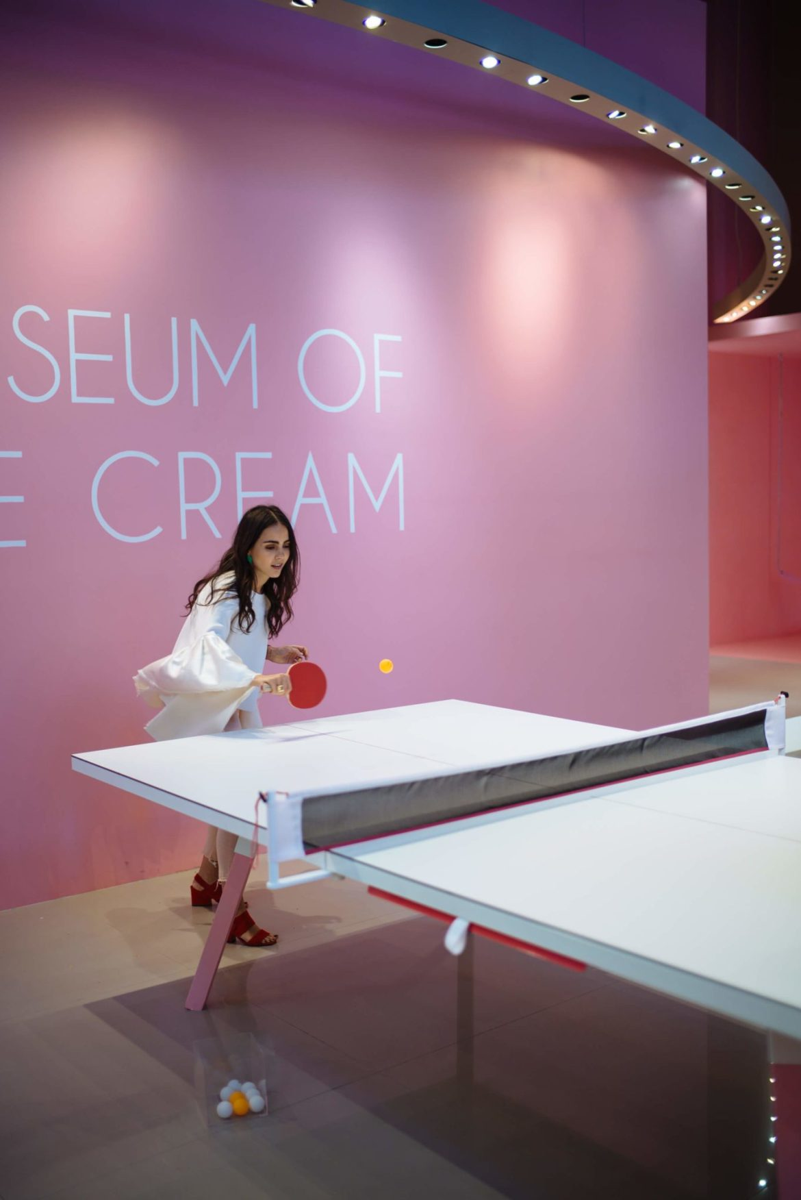 Founder Maryellis Bunn playing ping pong at The Museum of Ice Cream San Francisco, The Taste Edit