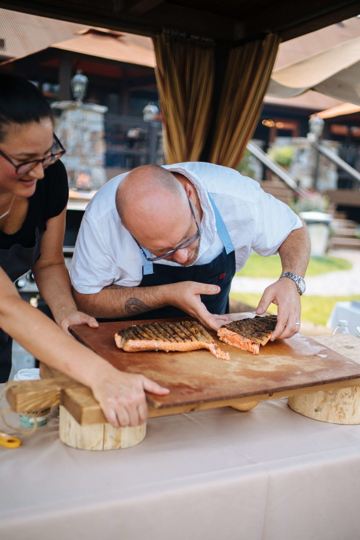How to grill salmon with skin, checking the donees of salmon, how much time on the grill the resort at paws up, montana glamping, cookbook live, greg denton OX restaurant Portland, The Taste Edit