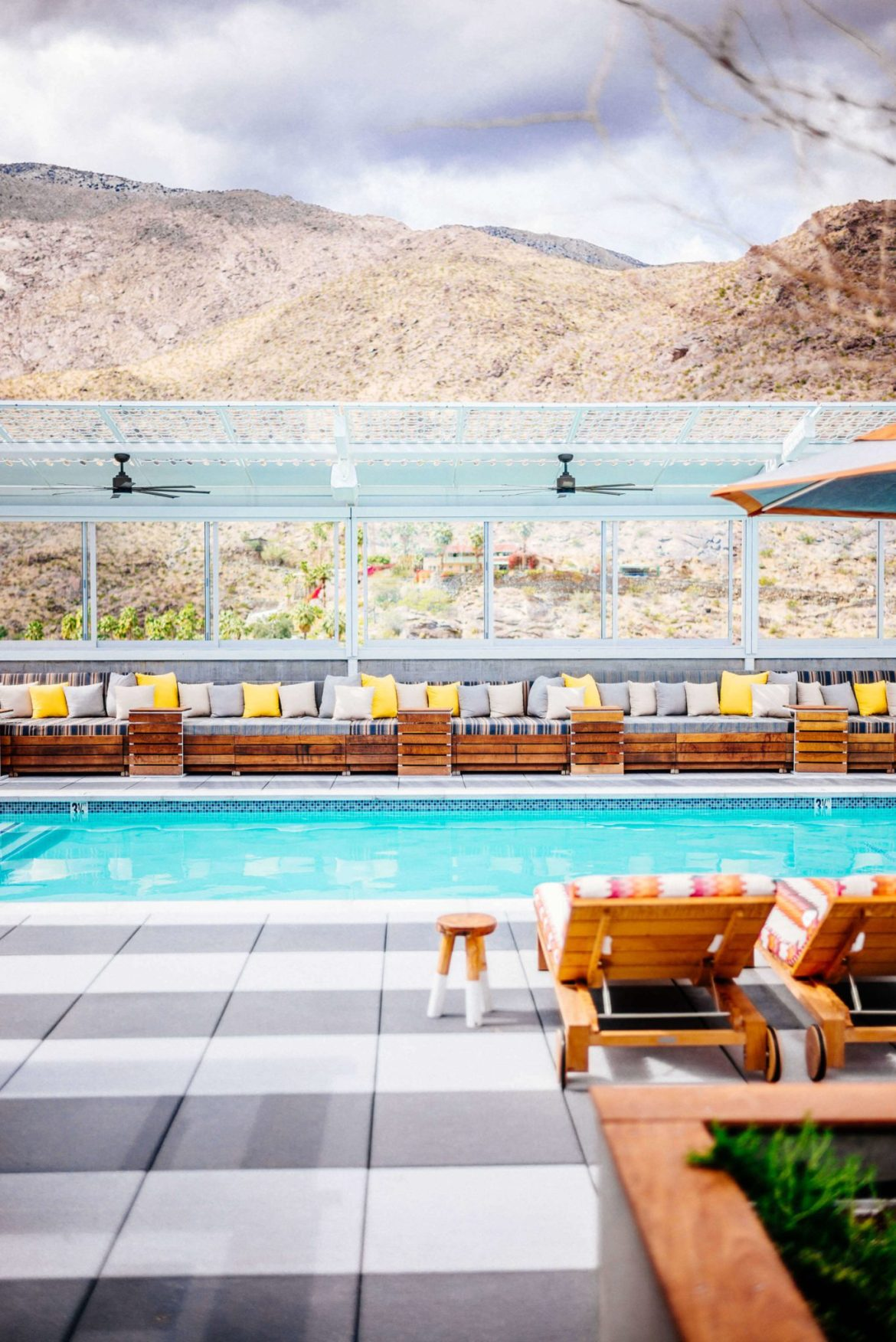Stay at the Kimpton with a rooftop Pool at the Kimpton Rowan Hotel in Palm Springs has 360 views of Palm Springs, it also has one of the best rooftop patios in Palm Springs, it's a dessert retreat, The Taste Edit